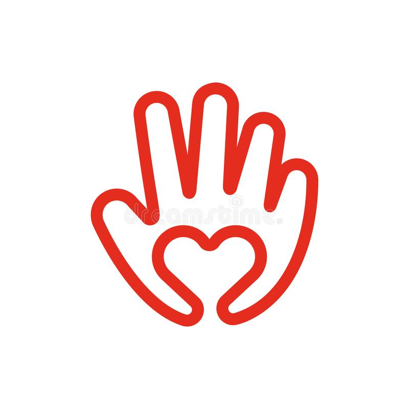 Linha disponivel amor do coração do ícone e conceito Logo Vetora Illustration criativo do cuidado ilustração royalty free