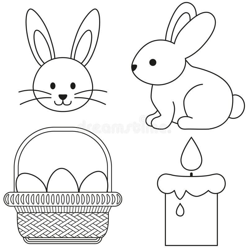 Linha do ícone preto e branco de easter da arte cartaz ajustado do ícone da cesta do ovo da vela do coelho ilustração royalty free