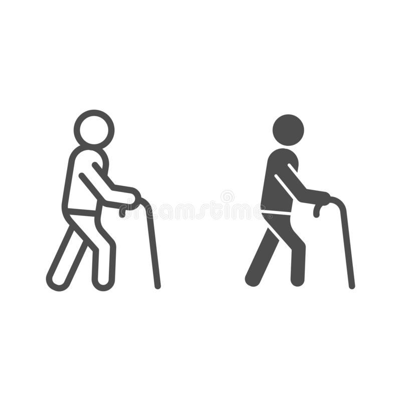 Linha do ancião e ícone do glyph Homem com a ilustração do vetor da vara de passeio isolada no branco Estilo do esboço da pessoa  ilustração do vetor