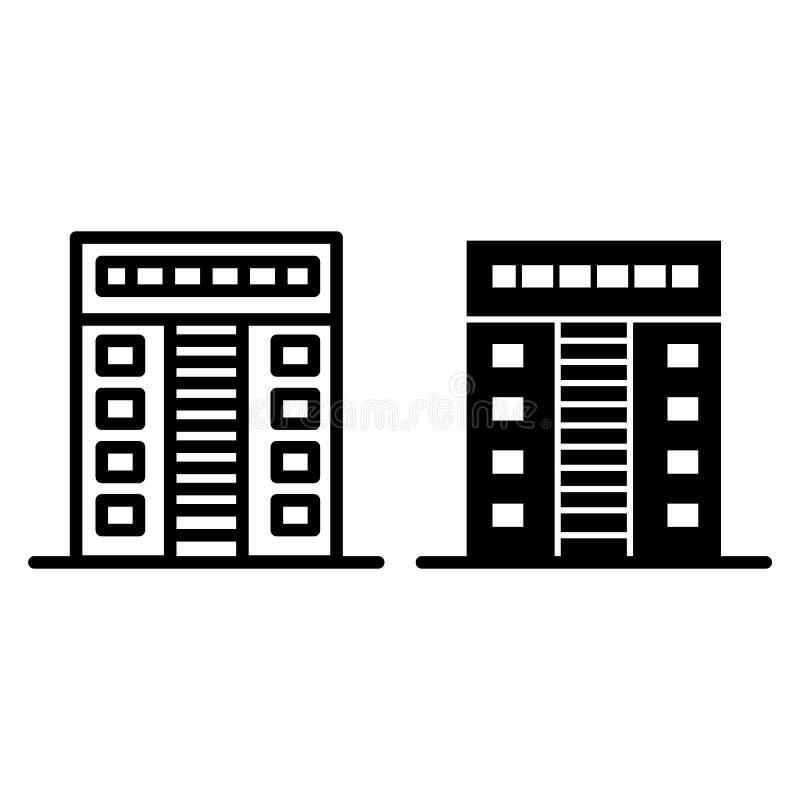 linha do apartamento do Multi-andar e ícone do glyph Ilustração do vetor da arquitetura isolada no branco Estilo do esboço da cas ilustração stock