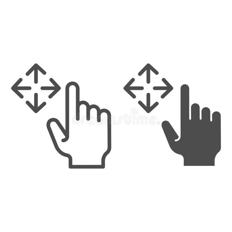 Linha do arrasto e ícone livres do glyph Ilustração do vetor do furto isolada no branco Projeto do estilo do esboço do gesto do m ilustração royalty free