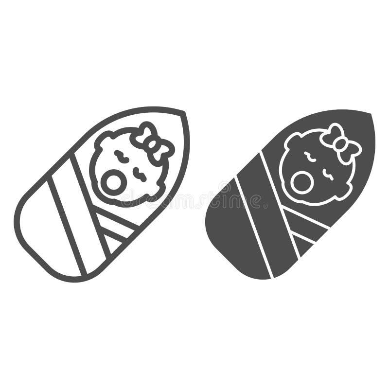 Linha do bebê de Sleppy e ícone do glyph Envolver a ilustração do vetor do bebê isolada no branco Esboço envolvido da menina ilustração stock