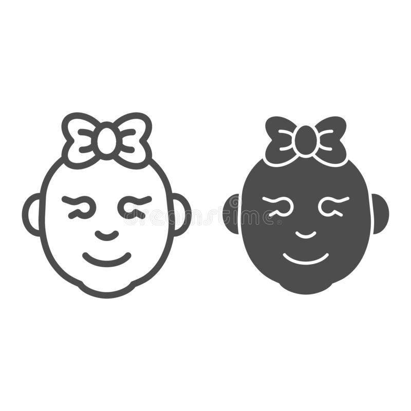 Linha do bebê e ícone do glyph Ilustração de sorriso do vetor da cara da menina isolada no branco Esboço da cara da menina da cri ilustração do vetor