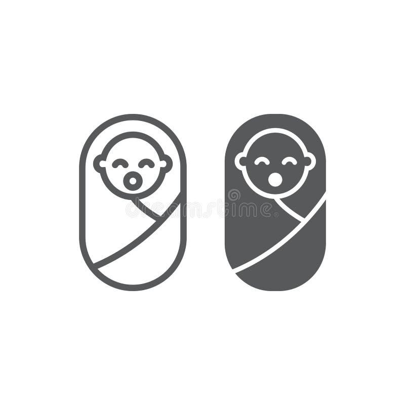Linha do bebê e ícone recém-nascido do glyph, criança e recém-nascido, sinal da criança, gráficos de vetor, um teste padrão linea ilustração do vetor