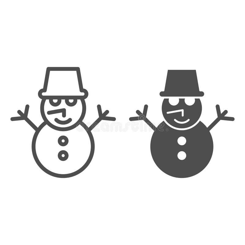 Linha do boneco de neve e ícone do glyph Ilustração do vetor da neve isolada no branco Projeto do estilo do esboço do inverno, pr ilustração do vetor