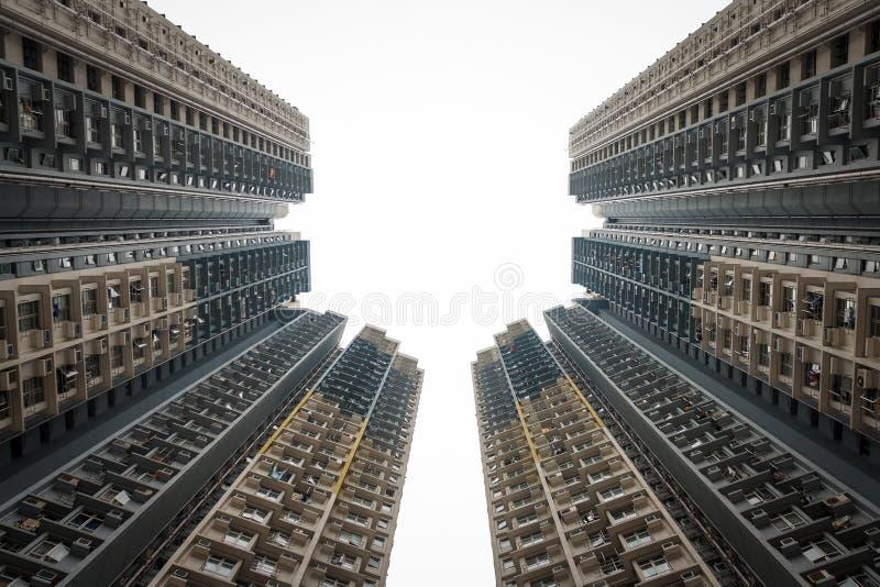 Linha do céu do bloco de Hong Kong foto de stock royalty free