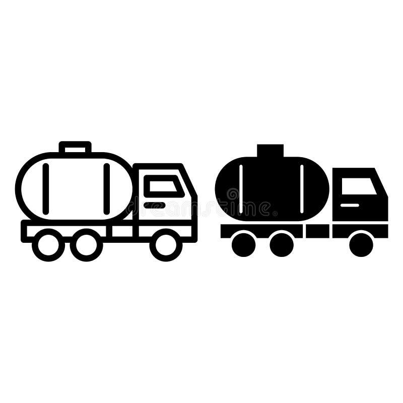 Linha do caminhão de tanque e ícone do glyph Ilustração do vetor do caminhão de petroleiro isolada no branco Projeto do estilo do ilustração royalty free