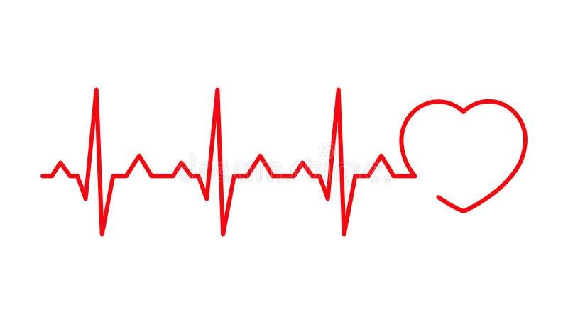 Linha do cardiograma sob a forma de um coração ilustração stock