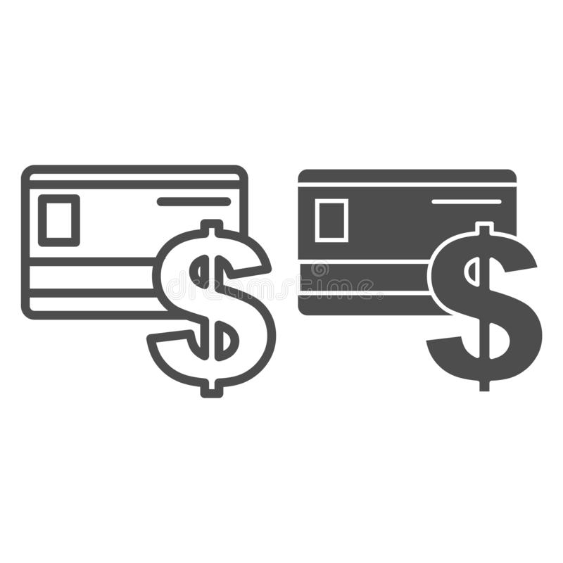 Linha do cartão de crédito e ícone do glyph Ilustração plástica do vetor do sinal do cartão e de dólar isolada no branco Esboço d ilustração do vetor