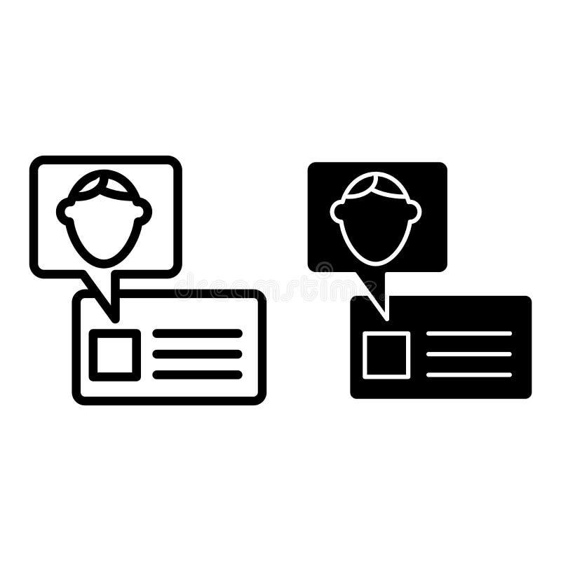 Linha do cartão de estudante e ícone do glyph Ilustração do vetor da identificação isolada no branco Projeto do estilo do esboço  ilustração stock