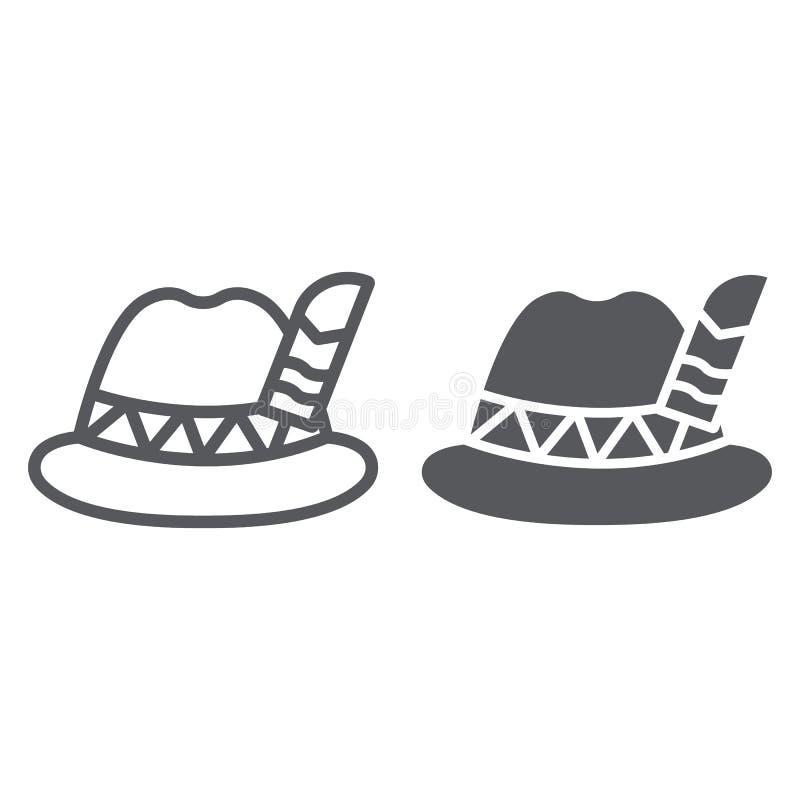 Linha do chapéu de Oktoberfest e ícone do glyph, bávaro e tampão, sinal do chapéu do bavaria, gráficos de vetor, um teste padrão  ilustração stock