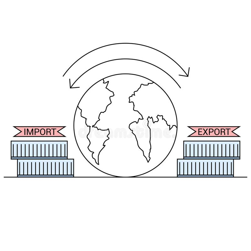 A linha do conceito da exportação da importação afaga o desenho ilustração do vetor