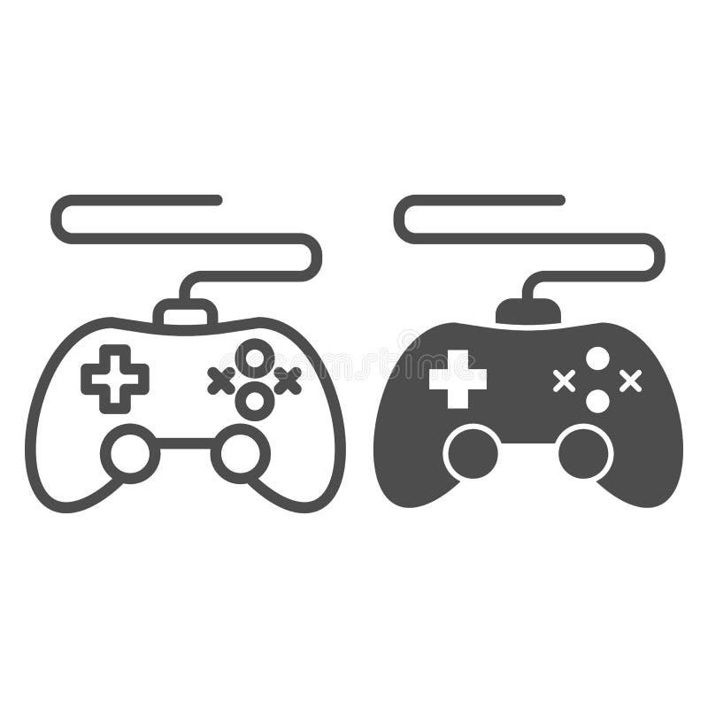 Linha do controlador do jogo e ícone do glyph Ilustração do vetor do manche isolada no branco Projeto do estilo do esboço do cons ilustração stock