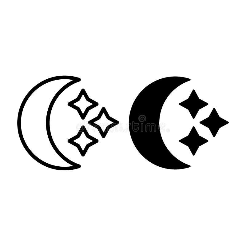 Linha do crescente e das estrelas e ícone do glyph Ilustração do vetor da lua isolada no branco Projeto crescente do estilo do es ilustração do vetor