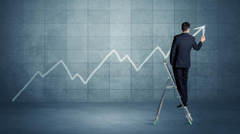 Linha do desenho do homem da escada imagem de stock royalty free