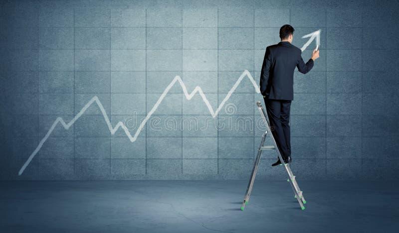 Linha do desenho do homem da escada imagens de stock royalty free