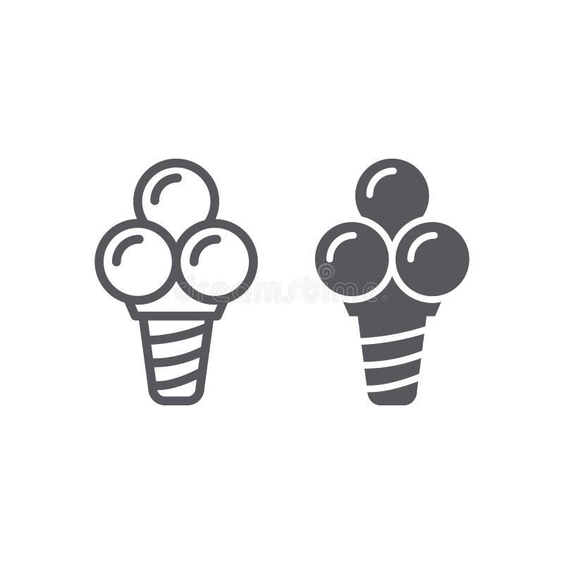 Linha do gelado e ícone do glyph, alimento e sobremesa, sinal do cone do waffle, gráficos de vetor, um teste padrão linear em um  ilustração do vetor