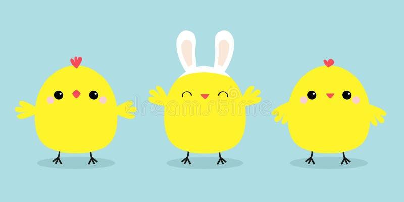Linha do grupo do pássaro da galinha As orelhas vestindo do coelho do coelho da cabeça da cara unem-se Caráter engraçado do bebê  ilustração royalty free