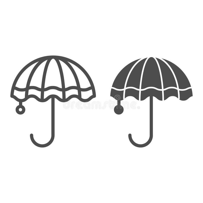 Linha do guarda-chuva e ícone do glyph Ilustração do vetor da meteorologia isolada no branco Chova o projeto do estilo do esbo ilustração royalty free