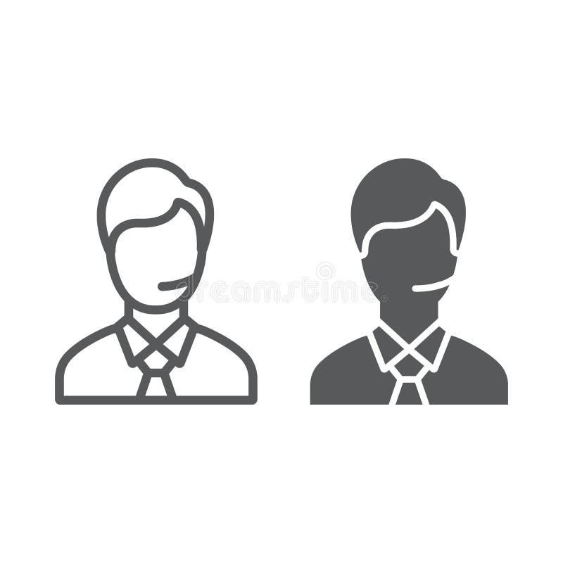 Linha do homem do apoio e ícone do glyph, chamada e comunicação, sinal da consulta, gráficos de vetor, um teste padrão linear em  ilustração do vetor