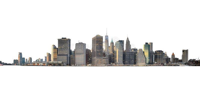Linha do horizonte de Manhattan isolada em branco fotos de stock royalty free