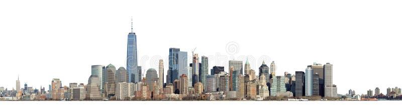 Linha do horizonte de Manhattan isolada em branco foto de stock
