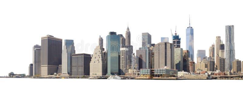Linha do horizonte de Manhattan isolada em branco fotografia de stock royalty free