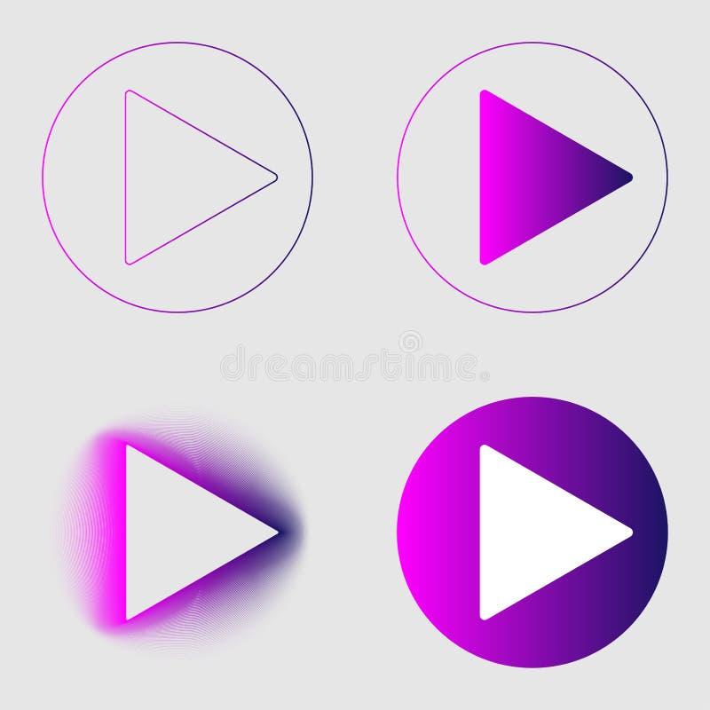 Linha do inclinação colorido do sinal do botão do jogo e grupo finos dos ícones da mistura Estilo liso do objeto do grupo no fund ilustração royalty free