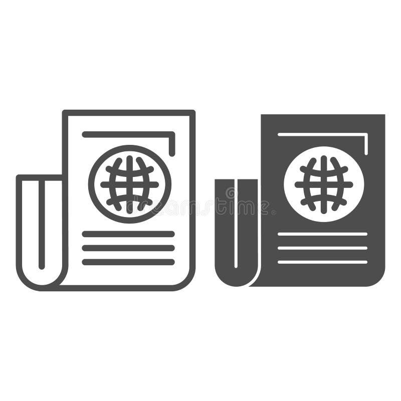 Linha do jornal e ícone do glyph Folha de papel com a ilustração do vetor do artigo isolada no branco Esboço do jornal do mundo ilustração do vetor