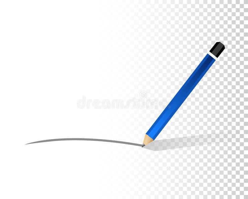 linha do lápis sobre uma camada vazia do projeto ilustração do vetor