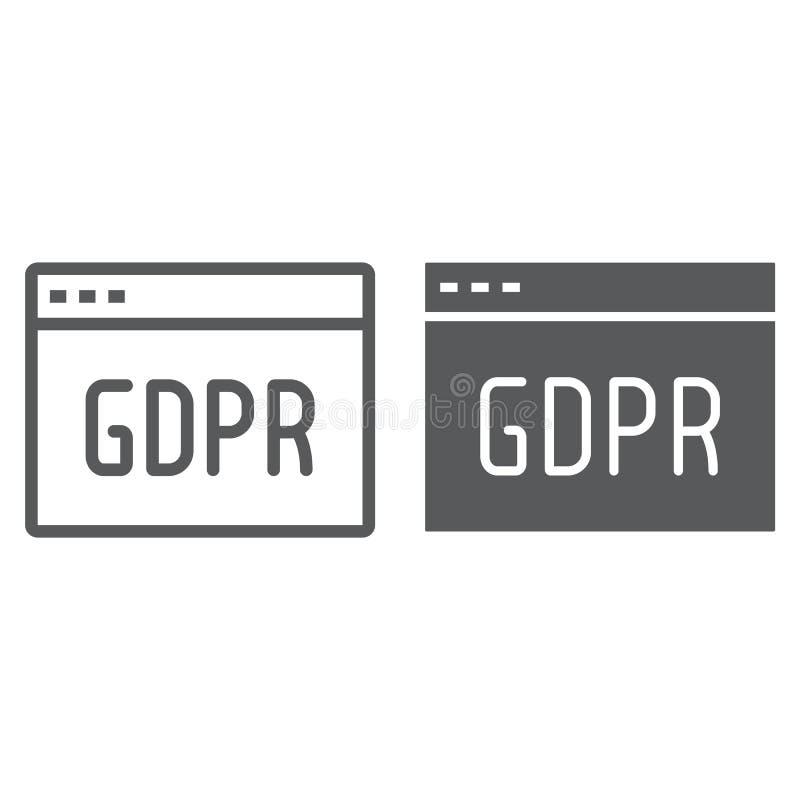 Linha do local de Gdpr e ?cone do glyph, Web page e Web site, sinal do navegador, gr?ficos de vetor, um teste padr?o linear em um ilustração do vetor