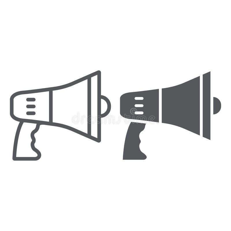 Linha do megafone e ícone do glyph, anúncio e altifalante, sinal do megafone, gráficos de vetor, um teste padrão linear em um bra ilustração do vetor