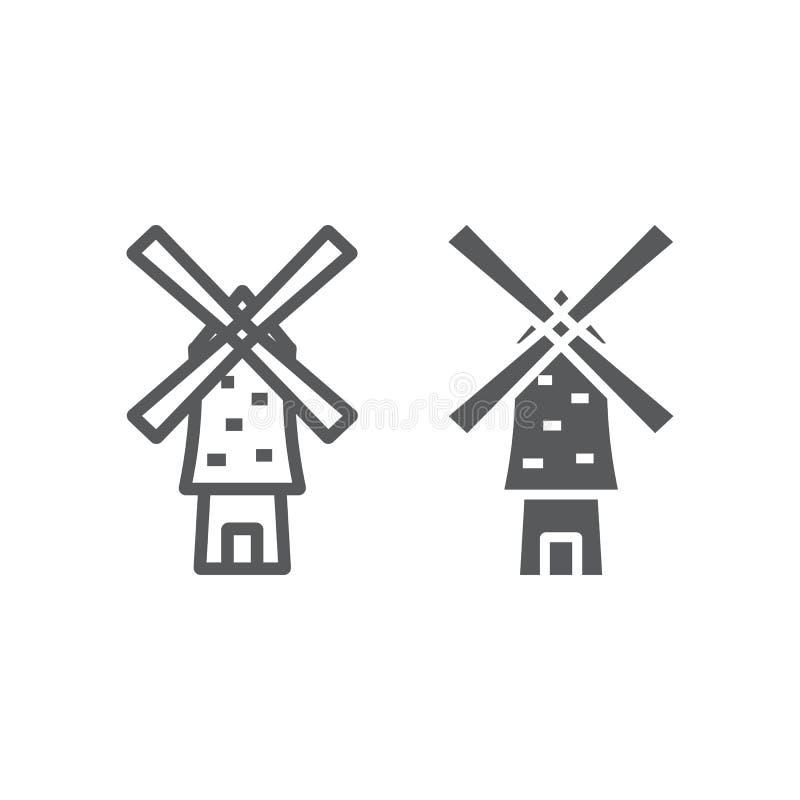 Linha do moinho de vento e ?cone do glyph, energia e vento, sinal do moinho, gr?ficos de vetor, um teste padr?o linear em um fund ilustração royalty free