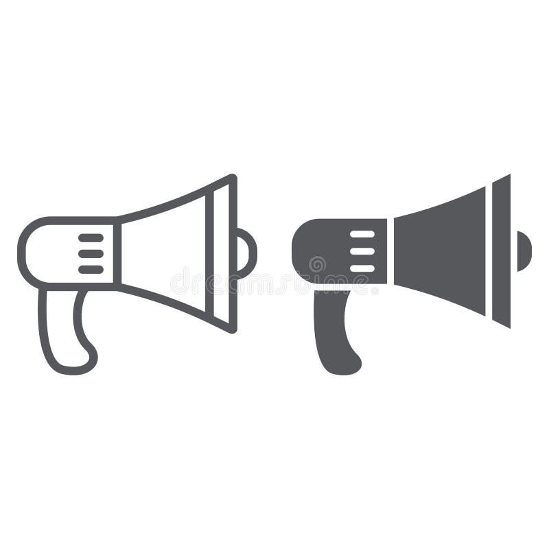 Linha do orador e ícone do glyph, alto e anúncio, sinal do megafone, gráficos de vetor, um teste padrão linear em um branco ilustração royalty free