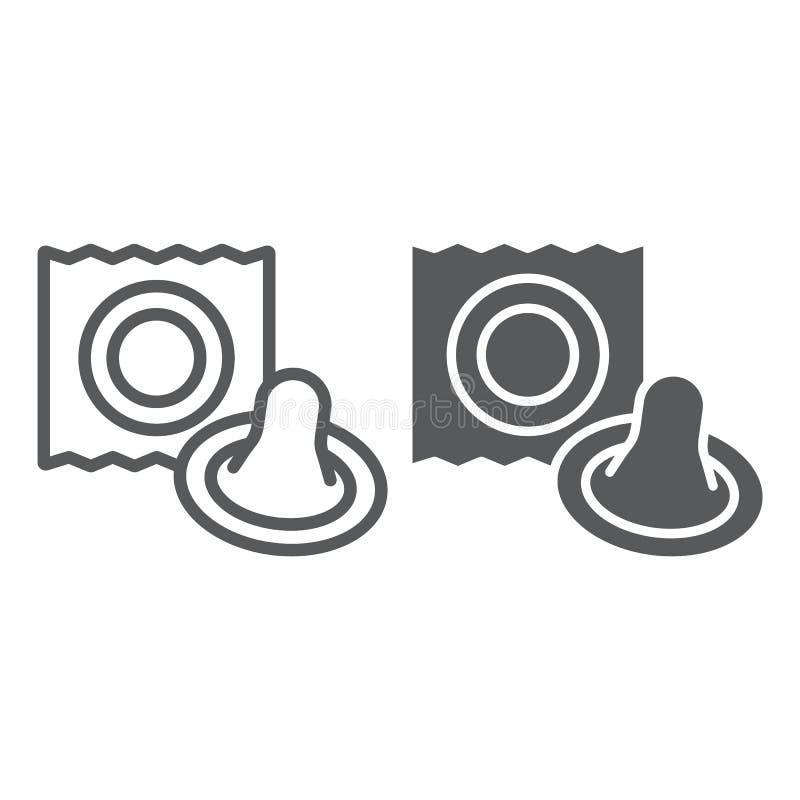 Linha do preservativo e ícone do glyph, látex e sexo, sinal preservativo, gráficos de vetor, um teste padrão linear em um fundo b ilustração stock