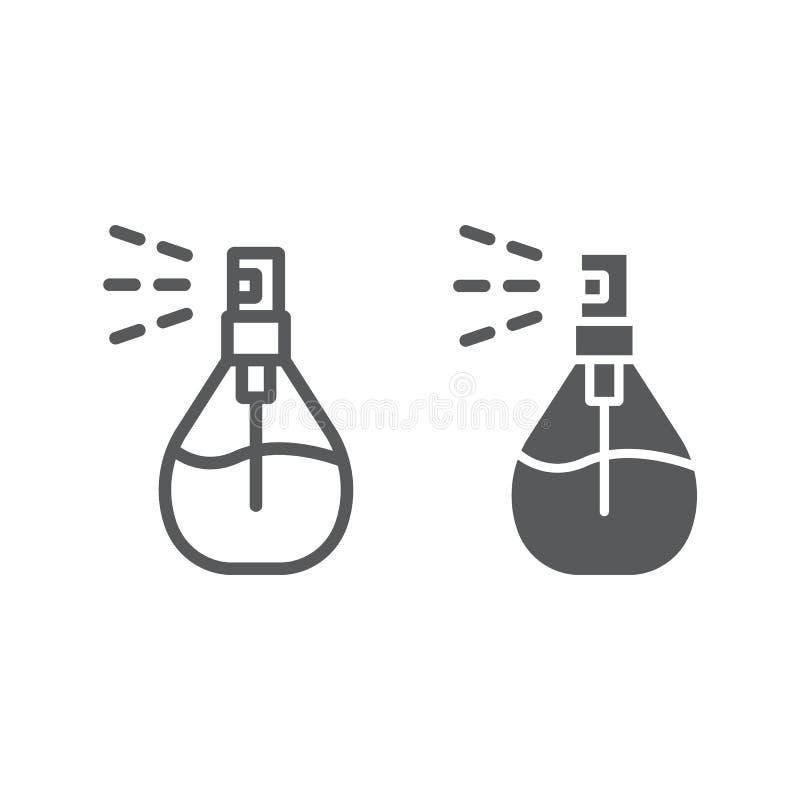 Linha do pulverizador da água de Colônia e ícone do glyph, desodorizante e fragrância, sinal do perfume, gráficos de vetor, um te ilustração do vetor