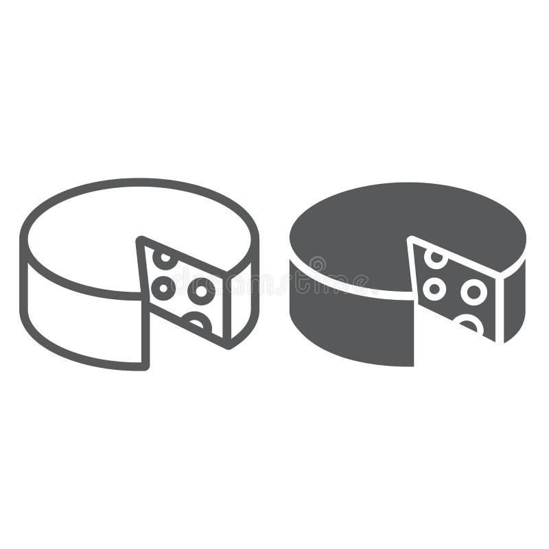 Linha do queijo e ícone do glyph, alimento e leite, sinal do queijo Cheddar, gráficos de vetor, um teste padrão linear em um fund ilustração stock