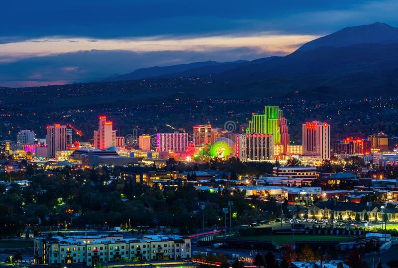 Linha do Reno à noite fotografia de stock royalty free