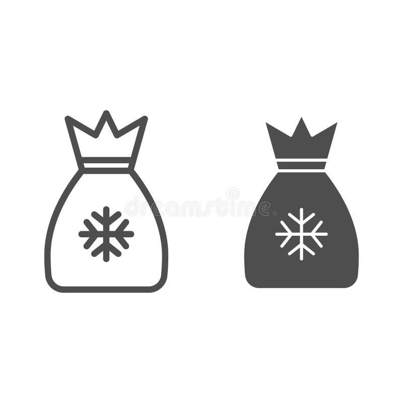 Linha do saco de Santa e ícone do glyph Saco com a ilustração do vetor dos presentes isolada no branco Estilo do esboço do saco d ilustração royalty free