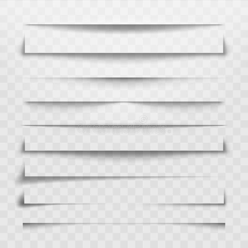 Linha do separador ou divisor da sombra para o página da web Divisores, linhas de divisão das sombras e vetor horizontais dos can ilustração royalty free