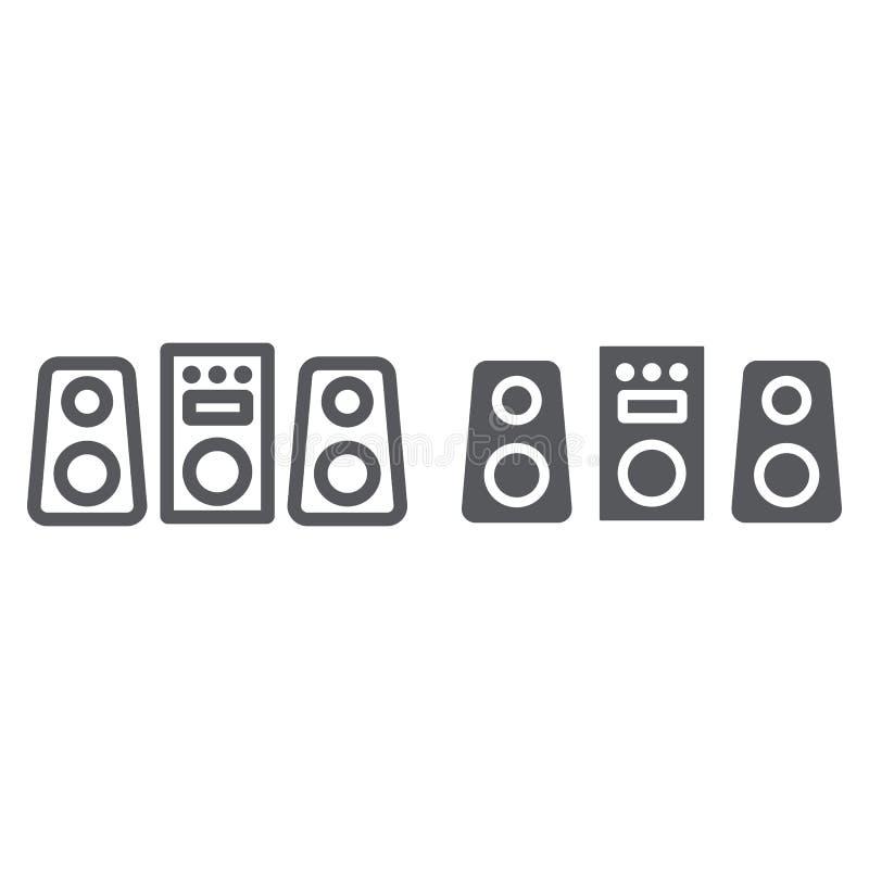 Linha do sistema de som e ícone do glyph, partido e música, sinal do sistema estereofônico, gráficos de vetor, um teste padrão li ilustração do vetor