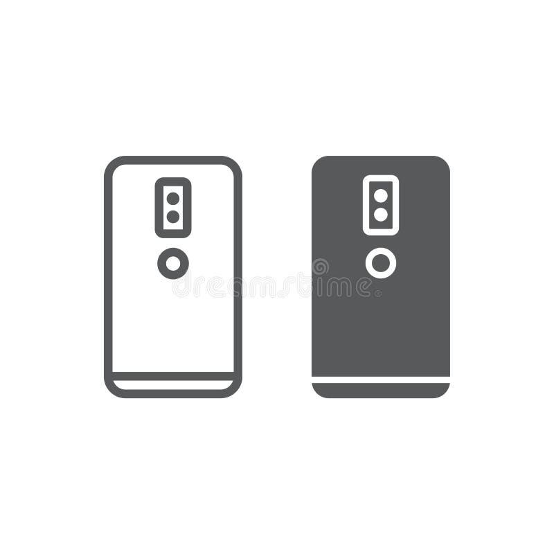 Linha do smartphone da câmera e ícone duplo do glyph, tecnologia e comunicação, sinal do telefone celular, gráficos de vetor, um  ilustração do vetor