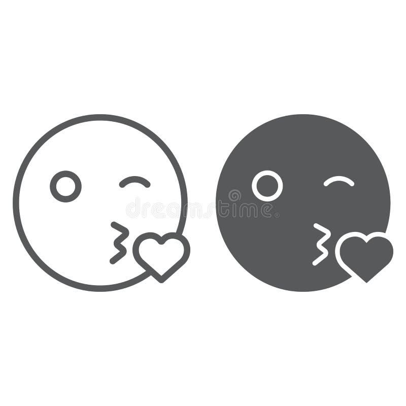 Linha do sorriso do beijo e ícone do glyph, emoticon e expressão, sinal do emoji do amor, gráficos de vetor, um teste padrão line ilustração stock