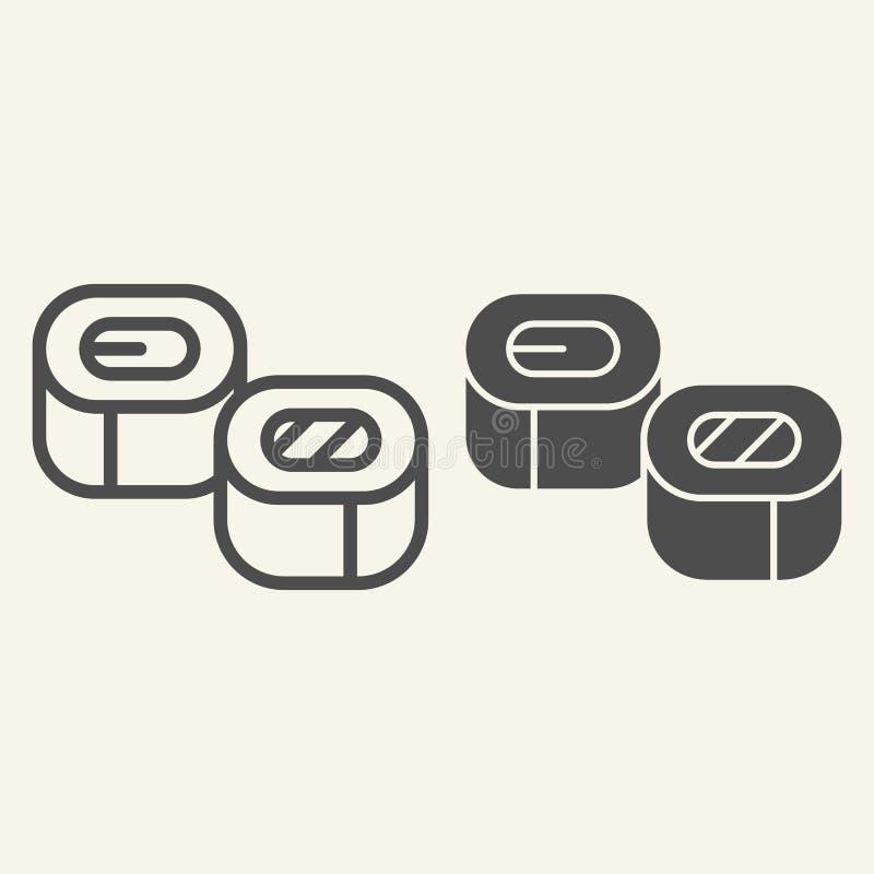 Linha do sushi e ícone do glyph Ilustração asiática do vetor da culinária isolada no branco Projeto do estilo do esboço do marisc ilustração royalty free