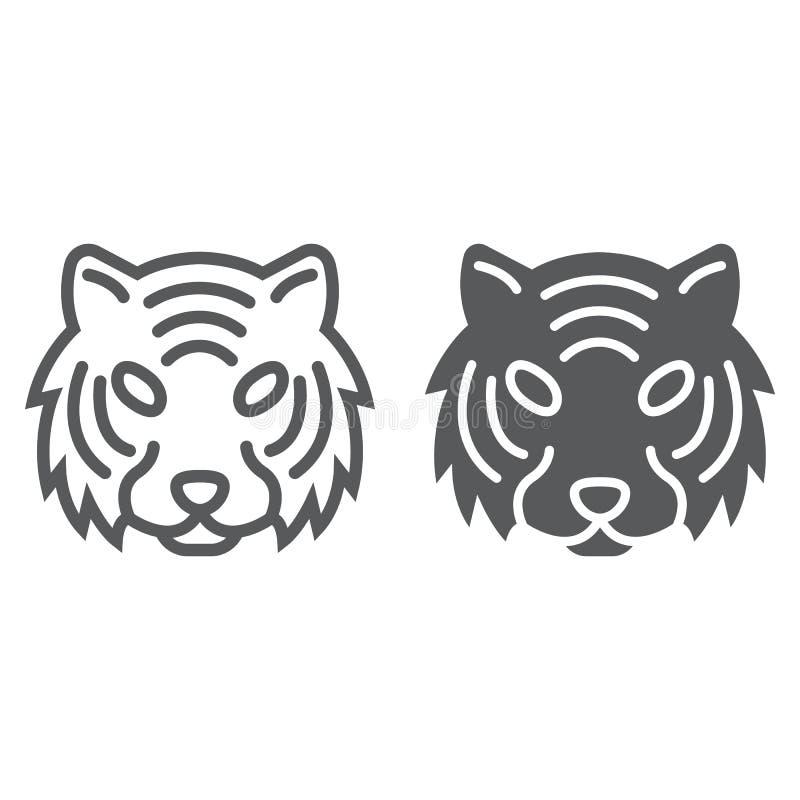 Linha do tigre e ícone do glyph, animal e jardim zoológico ilustração stock