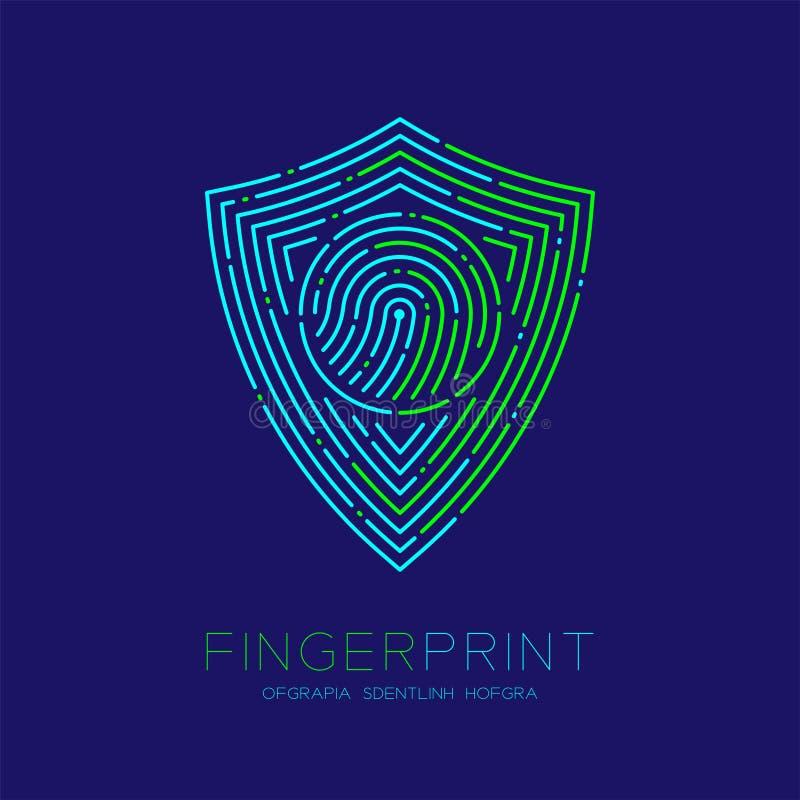 Linha do traço do ícone do logotipo da varredura da impressão digital do teste padrão da forma do protetor, conceito da privacida ilustração do vetor