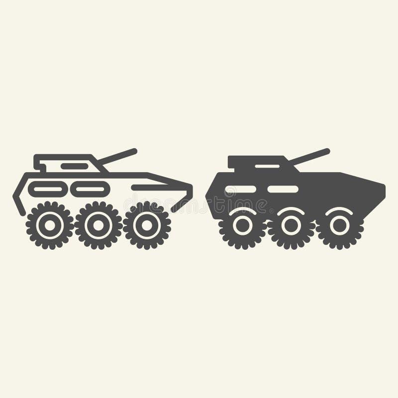 Linha do tropa-portador e ícone blindados do glyph Ilustração do vetor do veículo blindado isolada no branco Esboço da artilharia ilustração royalty free