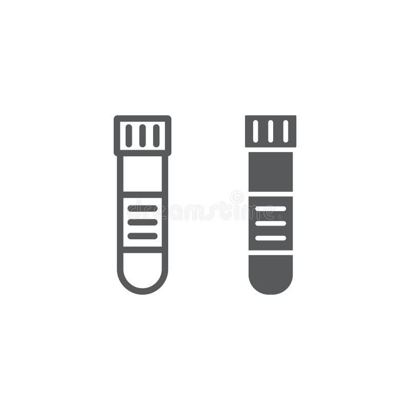 Linha do tubo de análise de sangue e ícone do glyph, médico ilustração royalty free