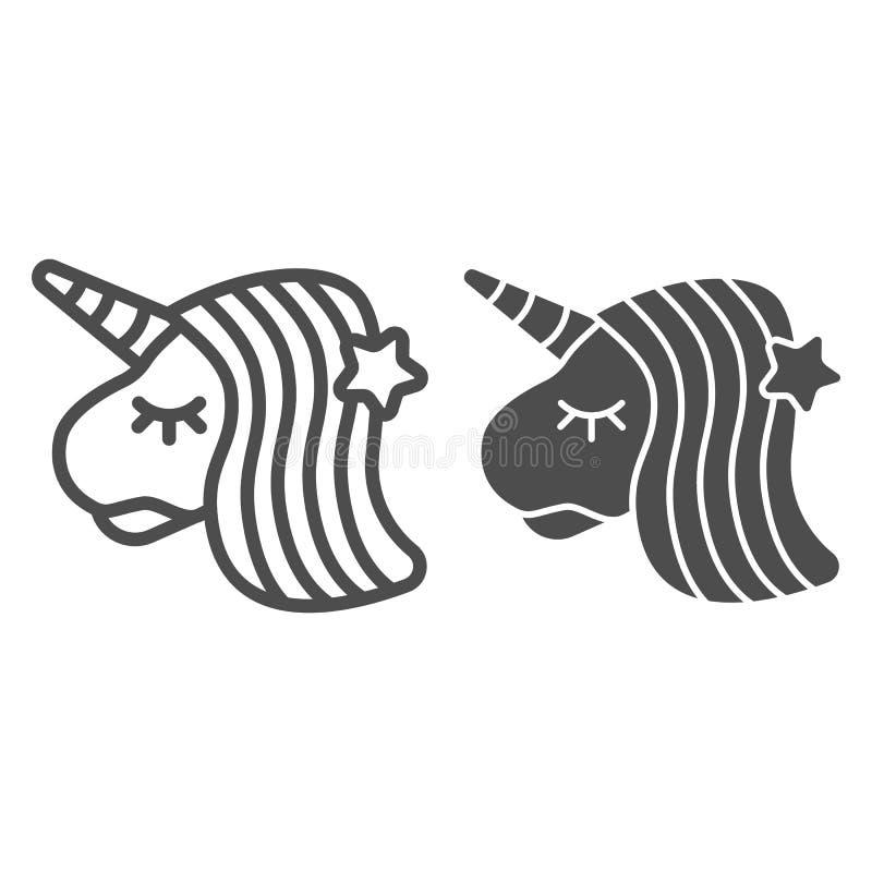 Linha do unicórnio e ícone do glyph Ilustração animal do vetor da fantasia isolada no branco Projeto do estilo do esboço do caval ilustração do vetor