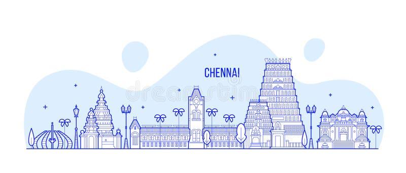 Linha do vetor da cidade da Índia do Tamil Nadu da skyline de Chennai ilustração royalty free